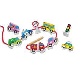 Дървена играчка за нанизване Превозни средства Viga Toys