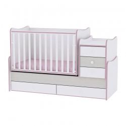 Дървено легло Люлка Lorelli Maxi Plus New, Трансформиращо се, 70/160, Бяло/Розов Crossli