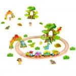 Джурасик парк - дървено влакче с релси и динозаври, 40 части