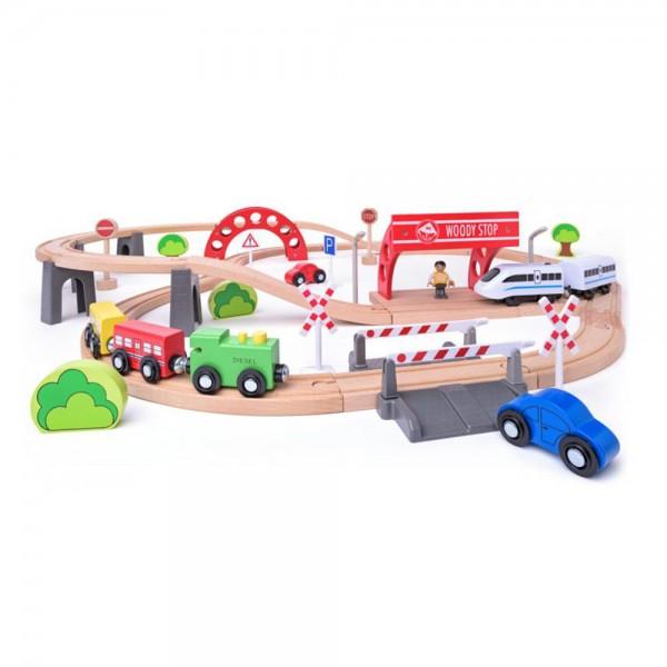Дървен комплект с релси, виадукт и електрически локомотив