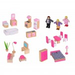 Приказен свят - дървена двуетажна къща за кукли, с обзавеждане и кукли