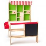 Дървен детски магазин с черна дъска WoodyLand