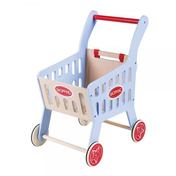 Дървена детска количка за пазаруване, синя