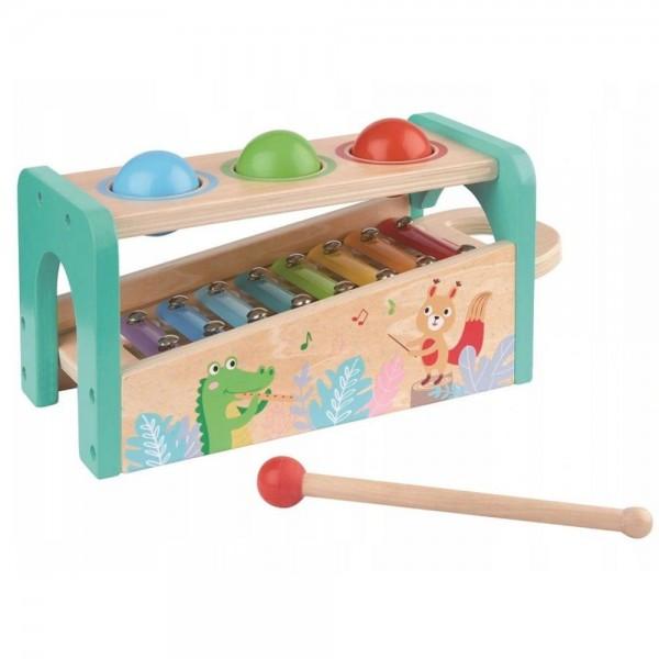 Музикален свят - ксилофон с чукче и топки за бебе Lelin toys