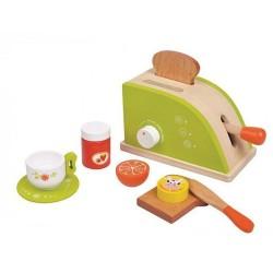 Детски дървен тостер, с продукти за закуска