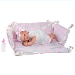 Кукла бебе Asi Dolls, Оли в розово кошче, 30 см