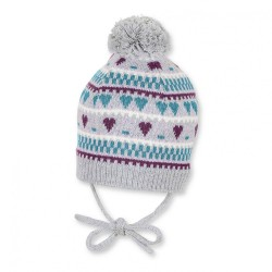 Бебешка шапка Sterntaler, зимна, плетена за момичета с пискюл